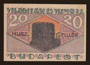 20 Fillér (Világítási és Vízmű Rt.; Budapest) – reverse