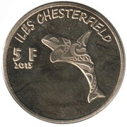 5 Francs (Chesterfield islands) – reverse