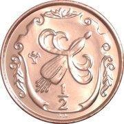 ½ Penny - Elizabeth II (Fuchsia flower on shield; Year of Sport) – reverse