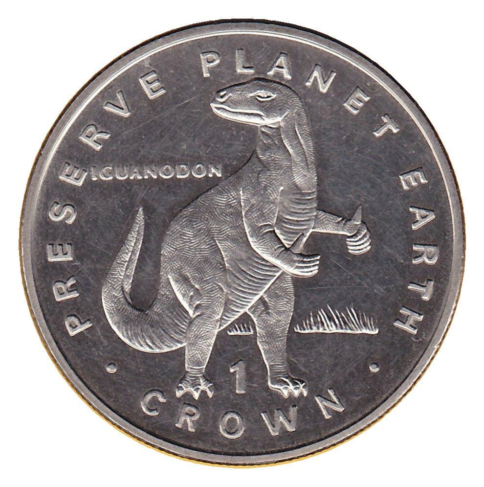 elf IOM Isle of Man 1 Crown 1993 Iguanodon Dinosaur