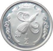 ½ Penny - Elizabeth II (Fuchsia flower on shield; silver) – reverse