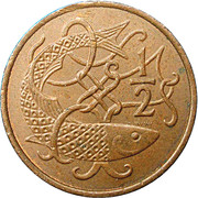 ½ Penny - Elizabeth II (stylized herring) – reverse