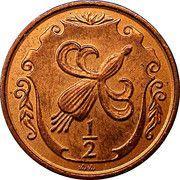 ½ Penny - Elizabeth II (Fuchsia flower on shield) – reverse