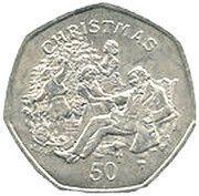 50 Pence - Elizabeth II (Christmas) -  reverse