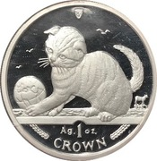 1 Crown - Elizabeth II (Scottish Fold Cat) Silver Proof – reverse