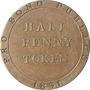 ½ Penny - William Callister (Bank Token Coinage) – reverse