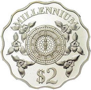 2 Dollars - Elizabeth II (Millennium) – reverse