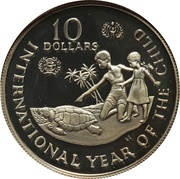 10 Dollars - Elizabeth II (International Year of the Child; Piedfort) – reverse