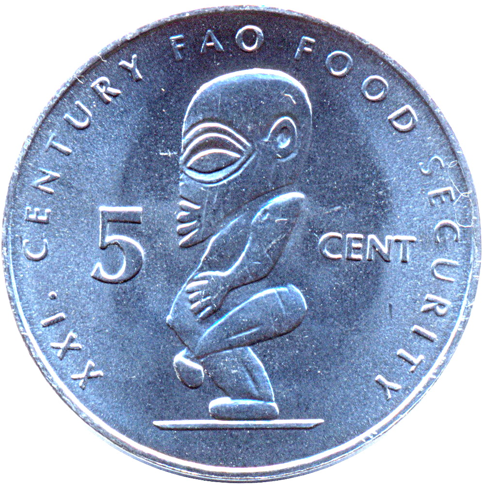 Cook Island British 5 cents coin 2000 km#369 Statue of Tangaroa UNC