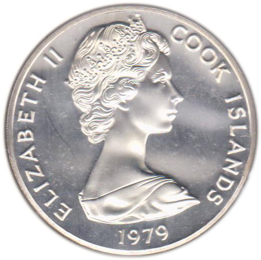 1978 Cook Islands commemorative coin and stamp $Five Dollar silver coin