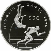 20 Dollars - Elizabeth II (1996 Olympics-Pole Vaulter & Runner) -  reverse