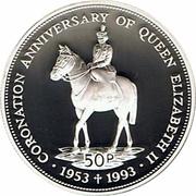 50 Pence - Elizabeth II (Coronation Jubilee; silver type) – reverse