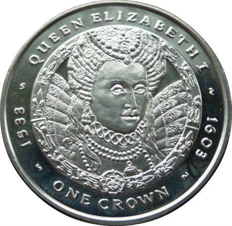 1 Crown - Elizabeth II (Queen Elizabeth I) - Falkland ... Queen Elizabeth 1 Crown