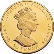 50 Pence - Elizabeth II (40th Anniversary-Reign of Queen Elizabeth II; Gold Proof) – obverse