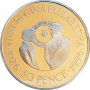 50 Pence - Elizabeth II (Queen Elizabeth II's 70th Birthday) – reverse