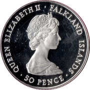 50 Pence - Elizabeth II (British Rule) – obverse