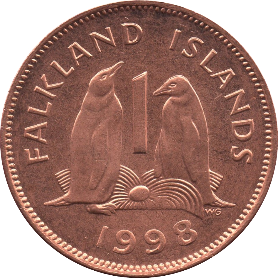 """/"""" PENGUINS /"""" super sweet coin uncirculated 1 Penny 1998 Falkland Islands coin"""
