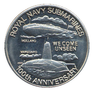 TURKS AND CAICOS ISLANDS 5 CROWNS UNC COIN 2001 YEAR KM#233 ROYAL NAVY SUBMARINE