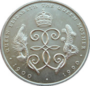 1 Crown - Elizabeth II (The 90th Birthday of the Queen Mother) – reverse