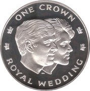 1 Crown - Elizabeth II (Royal Wedding; Silver Proof Issue) – reverse