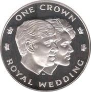 1 Crown - Elizabeth II (Royal Wedding; Silver Proof Issue) – reverse