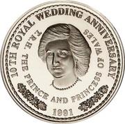 1 Crown - Elizabeth II (Royal Wedding - Princess Diana; Silver Proof Issue) – reverse