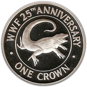 1 Crown - Elizabeth II (WWF; Silver Proof Issue) – reverse