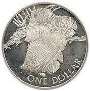 1 Dollar - Elizabeth II (Butterfly Fish ; Silver Proof Issue) – reverse