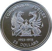 25 Dollars - Elizabeth II (Coronation Jubilee) – reverse