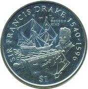 1 Dollar - Elizabeth II (Sir Francis Drake) – reverse