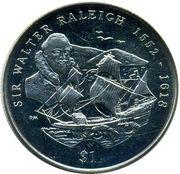 1 Dollar - Elizabeth II (Sir Walter Raleigh) – reverse