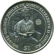 1 Dollar - Elizabeth II (Golden Jubilee, Queen on Throne) – reverse