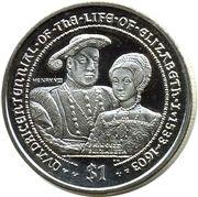 1 Dollar - Elizabeth II (King Henry VIII and Princess Elizabeth) – reverse