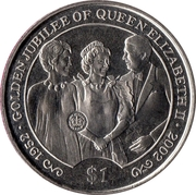 1 Dollar - Elizabeth II (Golden Jubilee, Queen with Reagan's) – reverse
