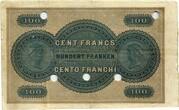 100 Francs (Banque Cantonale Neuchâteloise) – reverse