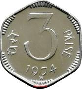 3 Paise (Proof Issue) – reverse