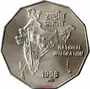 2 Rupees (National Integration; hendecagonal type) -  reverse