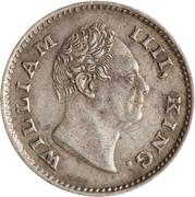 ¼ Rupee - William IV – obverse