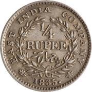 ¼ Rupee - William IV – reverse