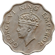 1 Anna - George VI (2nd portrait, small crown, low relief) -  obverse