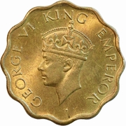 1 Anna - George VI (2nd portrait, large crown, low relief) -  obverse