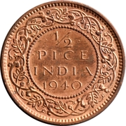 ½ Pice - George VI -  reverse