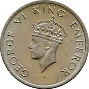 ½ Rupee - George VI -  obverse