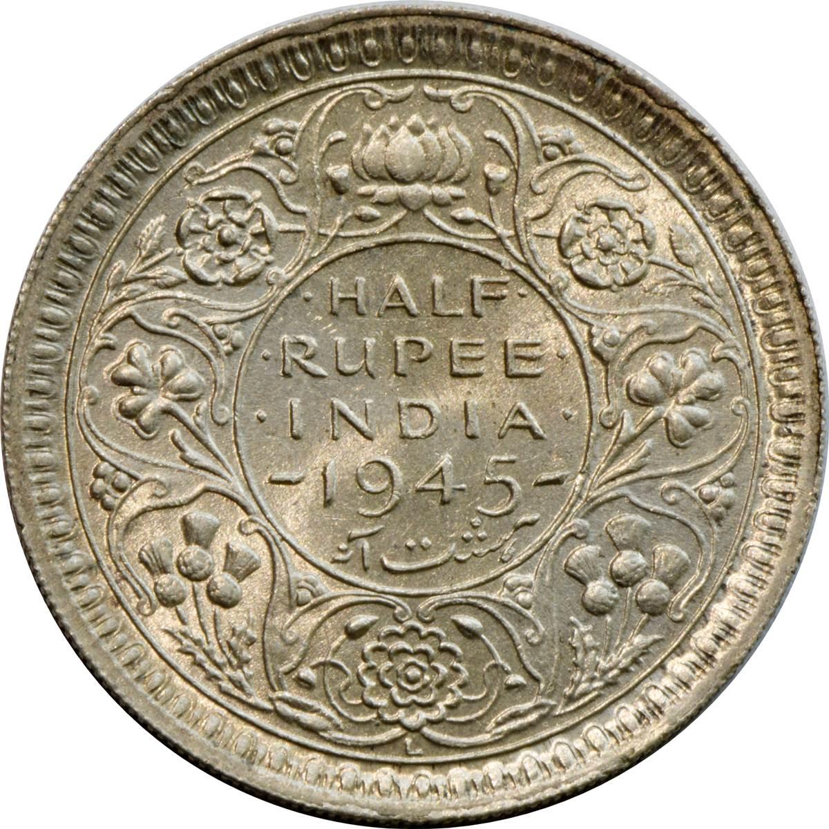 1 Rupee British India George VI Half Silver 1944 @ Excellent Condition