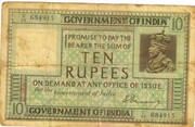 10 Rupees (King George V - 1st Issue; Type 1) – obverse