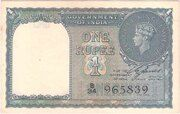 British India 1 Rupee KGVI 1944 (Third Issue) - Type 1 – obverse