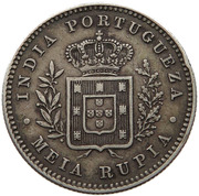 Meia Rupia  - Luíz I (Calcutta mint) -  reverse