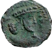 "Pashiz / Unit / Chalkous - ""kushansha"" Peroz I ""son of Ardashir"" (under Shapur I) – obverse"