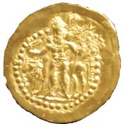 """Dinar - """"kushansha"""" Vorohrane (under Shapur I) – reverse"""