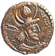 """Pashiz / Unit / Chalkous - """"kushansha"""" Peroz II (under Hormizd II) – obverse"""